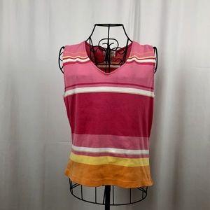 Talbots striped knit cotton tank top M